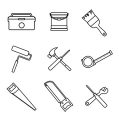 outline home repair intrument tools graphic vector image