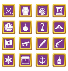Pirate icons set purple vector