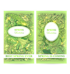 Set of elegant spring invitation flyers vector