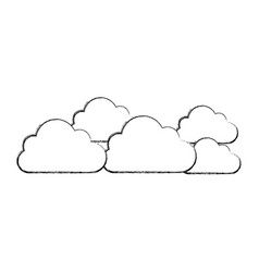silhouette cloud sticker icon vector image