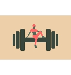 Sporty woman sits on a dumbbell vector