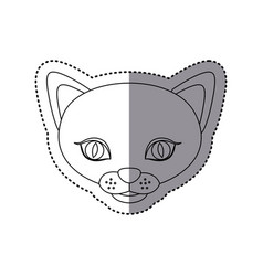 Sticker shading silhouette picture face cute cat vector