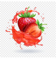 Strawberry realistic juice fresh fruit splash vector