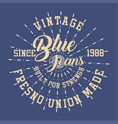Vintage blue jeans vector