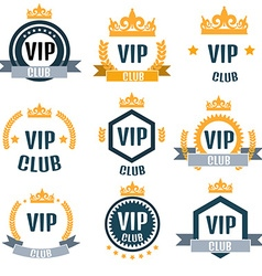 VIP club logos set in flat style vector image vector image