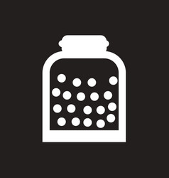 White icon on black background candy in jar vector