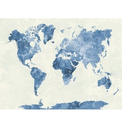 World map in watercolor blue vector