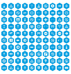 100 road signs icons set blue vector