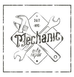 Mechanic auto repair label vintage tee design vector
