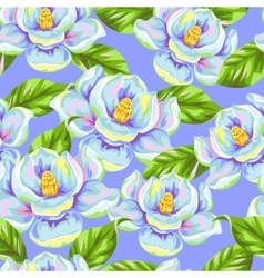 Seamless pattern with magnolia flowers bright vector