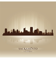 Sacramento california skyline city silhouette vector