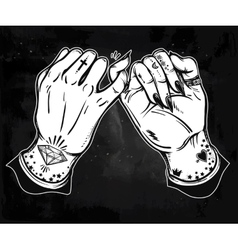 Pinky promise hand holding Trendy art vector image