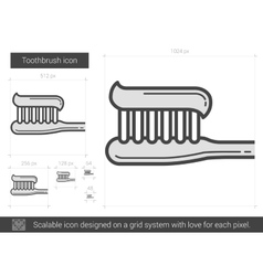 Toothbrush line icon vector