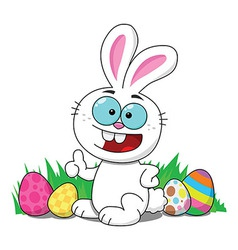 Easter bunny with eggs smiling vector