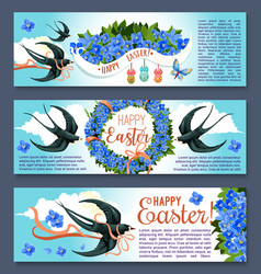 Easter banner set with spring birds and flowers vector