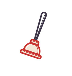toilet rubber plunger red cup on white background vector image