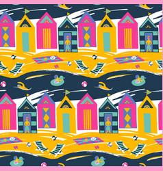 Beach cabin bright colorful seamless vector