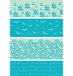 Set of four sea horizontal seamless borders vector