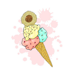 Ice cream in a waffle cone three colors with vector
