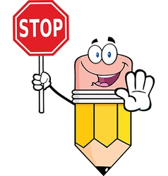 Pencil cartoon character holding a stop sign vector
