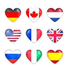 Glass heart flags of countries icon set isolated vector