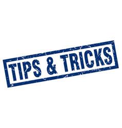 Square grunge blue tips tricks stamp vector