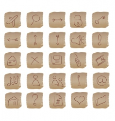 Beige square web buttons set vector