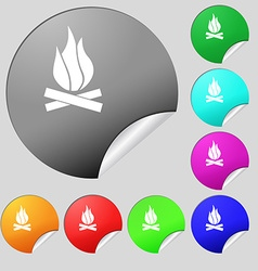A fire icon sign set of eight multi colored round vector
