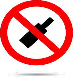 Ban alcohol sign flat icon vector