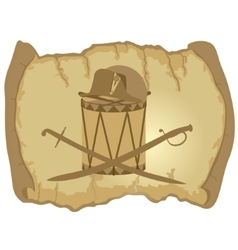 Parchment napoleons hat drum and saber vector