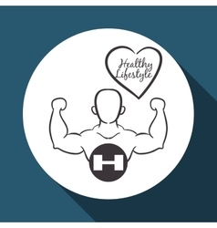 Healthy lifestyle design bodybuilding vector