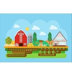 Agricultural village landscape flat concept vector