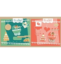 Baby girl and boy scrapbook elements set vector