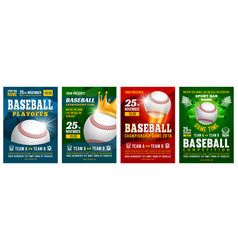 Baseball poster set vector