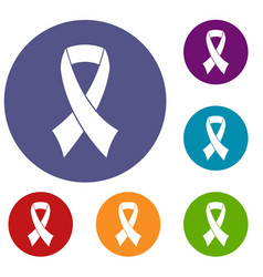 Breast cancer awareness ribbon icons set vector