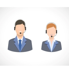 Call center support personnel staff icons vector