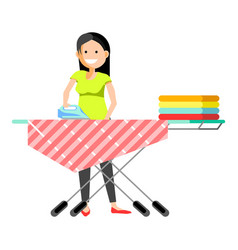 cheerful girl ironing clothes vector image