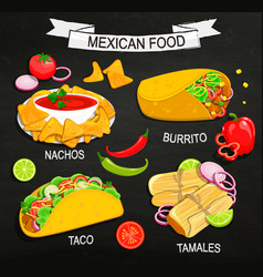 Concept of mexican food menu vector
