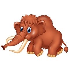 Cute mammoth cartoon isolated on white background vector image vector image