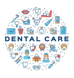 Dental care circle infographics stomatology icon vector