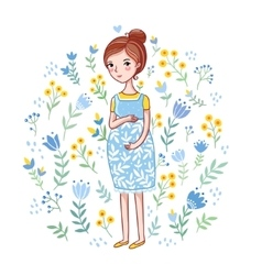 Future mother on a white background vector image vector image