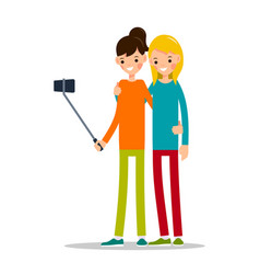 girl with mobile phone woman do selfie vector image vector image