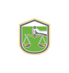 Hand Holding Scales of Justice Shield Retro vector image