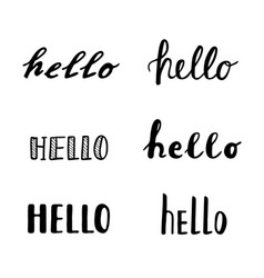 Hello calligraphy lettering quotes handwritten vector
