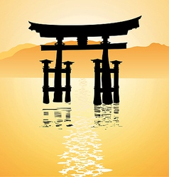 heritage shrine in Miyajima Japan vector image vector image