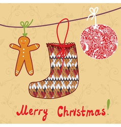 hristmas card with sock gingerbread vector image vector image