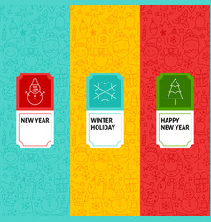 Line new year patterns set vector