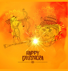 Lord ram killing ravan in dussehra festival vector
