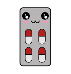 Medicine pills isolated kawaii cartoon vector