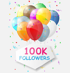 Milestone 100000 followers background with vector